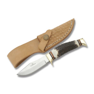 Hunters Buddy - 2.75 Inch Clip Point Blade Burnt Stag Handle
