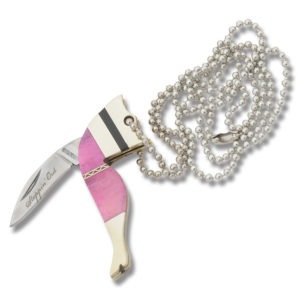 Steppin Out Lady Leg Necklace Pink Smooth Bone Handle